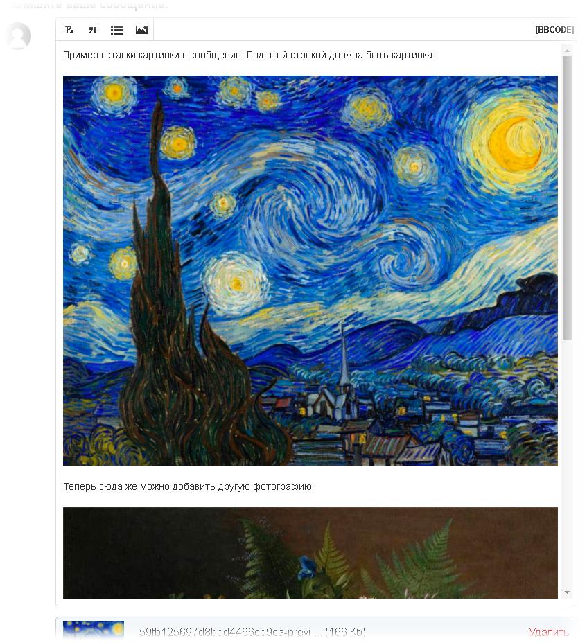 Пример размещения нескольких фотографий на форуме